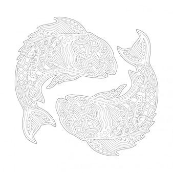 Pagina del libro da colorare con segno zodiacale pesci