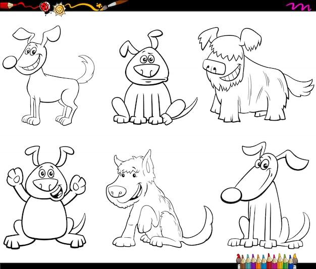 Pagina del libro da colorare dei cani e dei cuccioli del fumetto