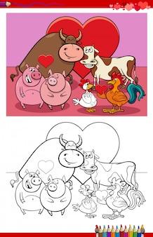 Pagina del libro da colorare del fumetto delle coppie animali nell'amore