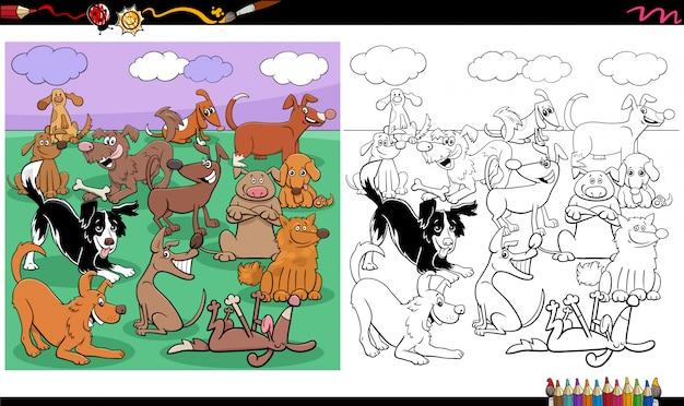 Pagina del libro da colorare del grande gruppo di caratteri dei cani