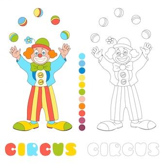 Pagina del libro da colorare di circo pagliaccio giocoliere