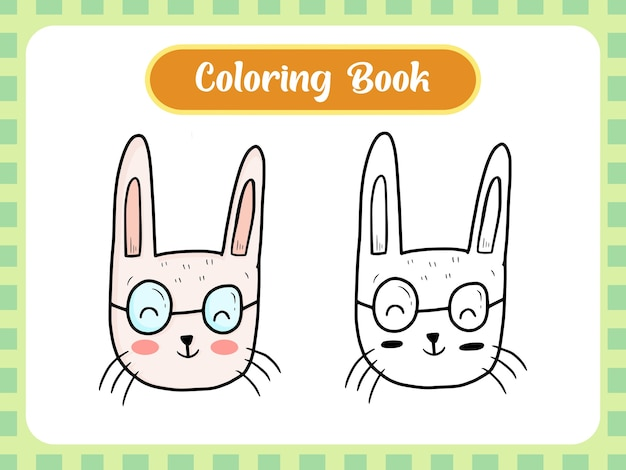 Pagina del libro da colorare di coniglio per bambini