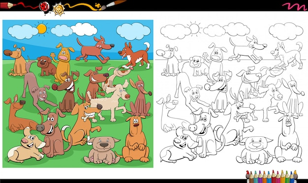 Pagina del libro da colorare di personaggi di cuccioli e cani
