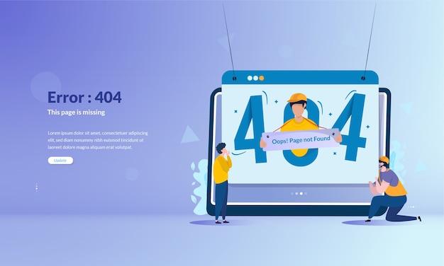 Pagina del messaggio di errore 404 non trovata sul concetto di banner