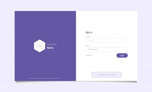 Pagina del modulo di accesso moderno. elementi del sito web dell'interfaccia utente