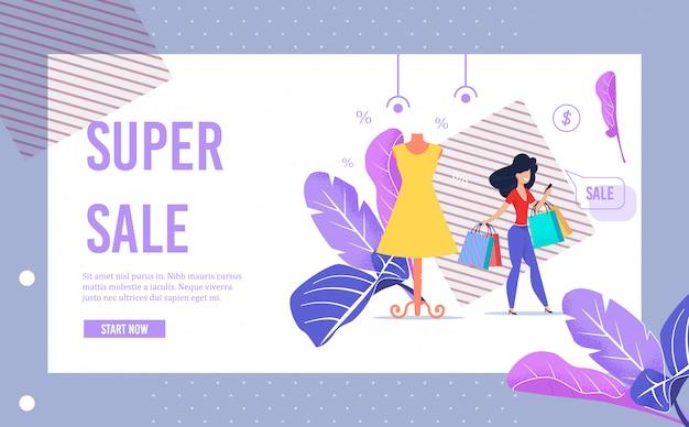 Pagina dell'insegna di pubblicità di vendita eccellente nel telaio