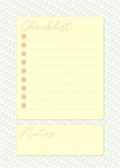 Pagina della lista di controllo graziosa in giallo con spazio per prendere appunti in uno sfondo colorato punteggiato