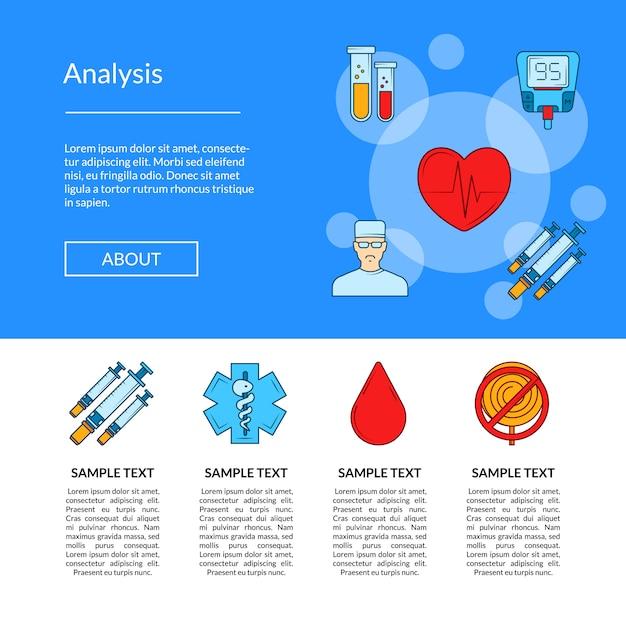 Pagina delle icone del diabete colorata