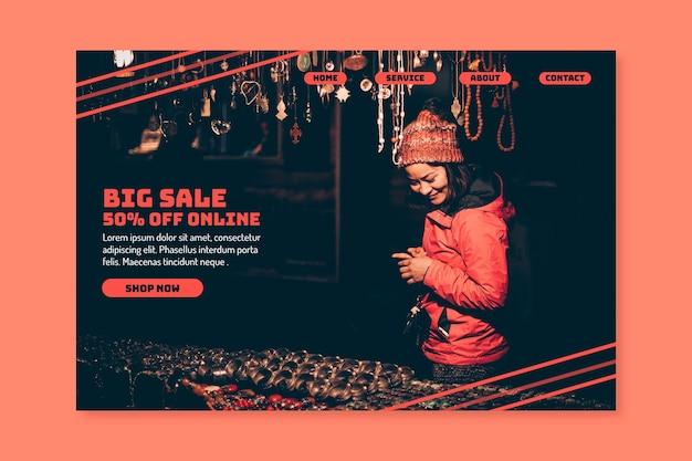 Pagina di atterraggio astratta di vendite con la foto