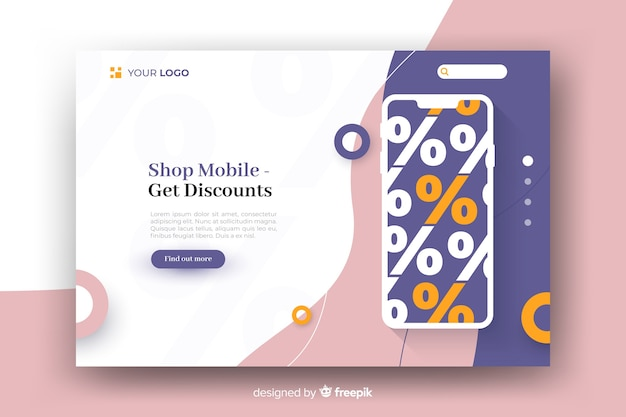 Pagina di atterraggio astratta di vendite con lo smartphone