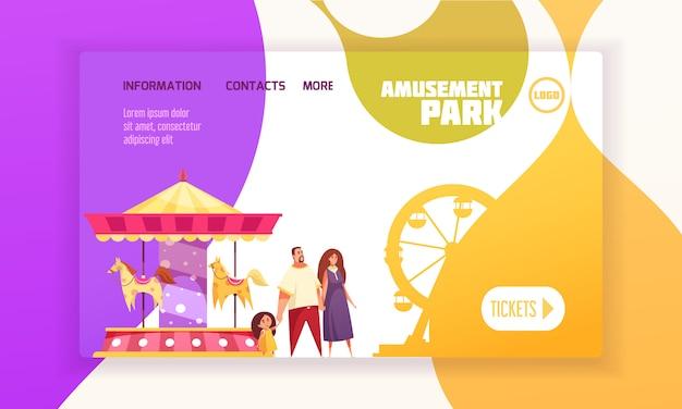 Pagina di atterraggio del parco di divertimenti con la famiglia vicino all'illustrazione del fumetto della ruota panoramica e del carosello