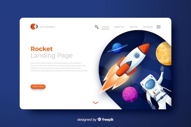 Pagina di atterraggio del razzo con l'astronauta