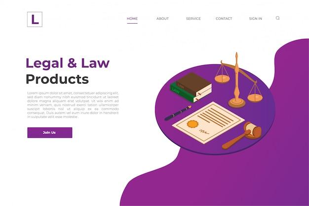 Pagina di atterraggio del sito web legale e legale