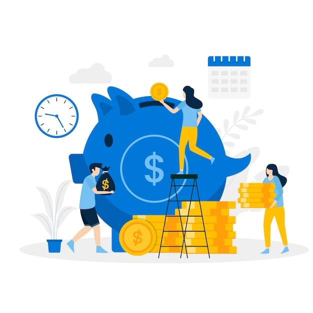 Pagina di atterraggio dell'illustrazione di risparmio del maiale dei soldi