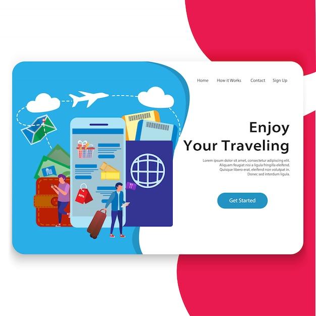 Pagina di atterraggio dell'illustrazione di viaggio del sito
