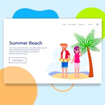 Pagina di atterraggio dell'illustrazione di viaggio di vacanza di festa della spiaggia di estate