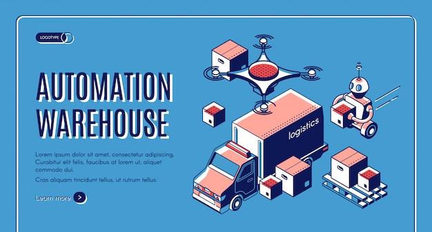 Pagina di atterraggio della logistica di magazzino automatizzata con robot che caricano le scatole nel camion di consegna
