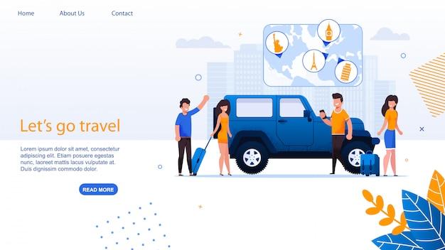 Pagina di atterraggio di car travel agency e carshare service.