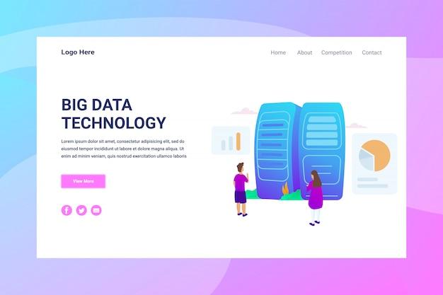 Pagina di atterraggio di concetto dell'illustrazione di big data dell'intestazione della pagina web