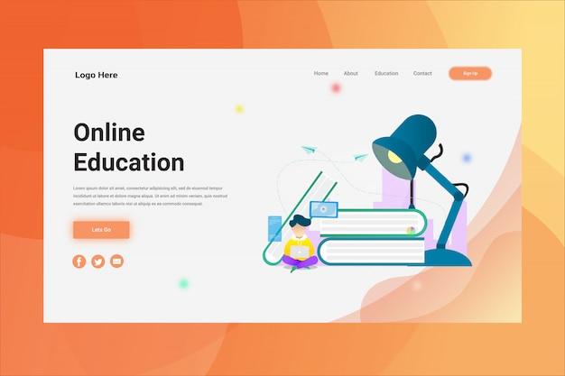 Pagina di atterraggio di concetto dell'illustrazione di istruzione online dell'intestazione della pagina web