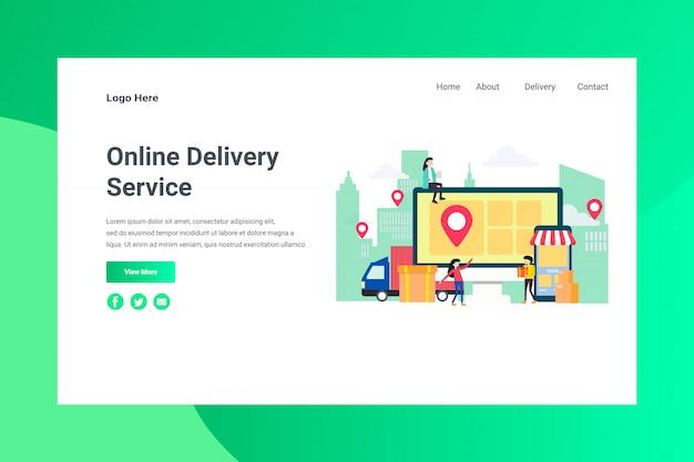 Pagina di atterraggio di concetto dell'illustrazione di servizio online di consegna dell'intestazione della pagina web