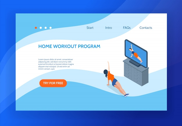 Pagina di atterraggio di concetto di aerobica con la donna che fa allenamento a casa davanti all'illustrazione isometrica di vettore del set televisivo 3d