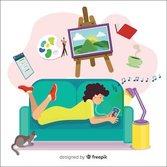 Pagina di atterraggio di concetto di rilassamento a casa