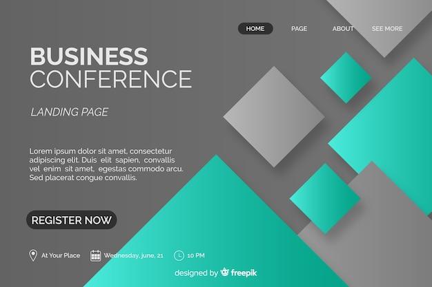 Pagina di atterraggio di conferenze aziendali di forme astratte piatte