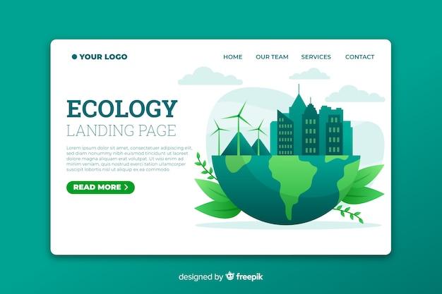 Pagina di atterraggio di ecologia con l'illustrazione di energia eolica