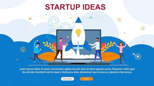 Pagina di atterraggio di idee startup dell'illustrazione di vettore.