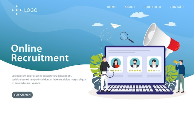 Pagina di atterraggio di reclutamento online, modello di sito web, facile da modificare e personalizzare, illustrazione vettoriale
