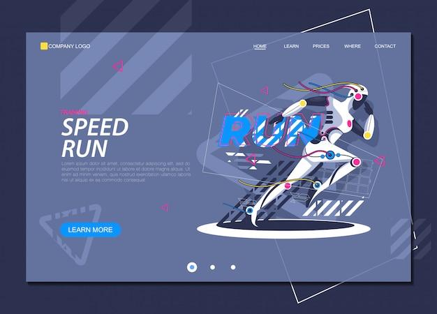 Pagina di atterraggio di salute e tecnologia del jogger della ragazza corrente