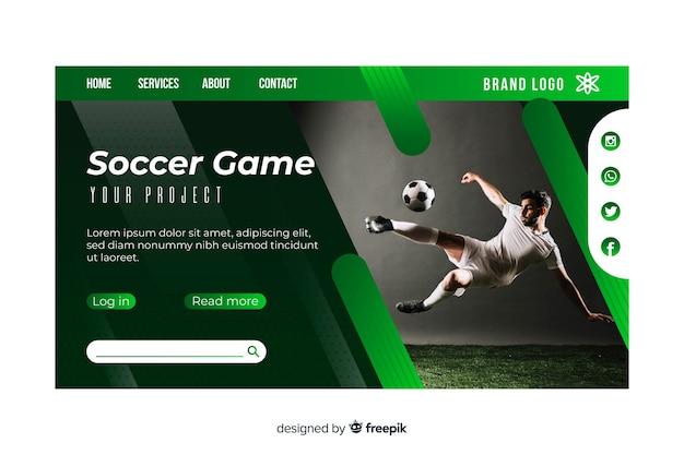Pagina di atterraggio di sport del gioco di calcio con foto