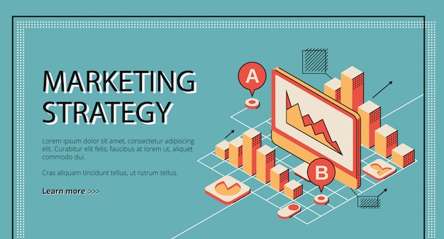 Pagina di atterraggio di strategia di marketing su retro priorità bassa colorata.