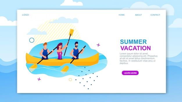 Pagina di atterraggio di vacanze estive che offre rematura del mare.