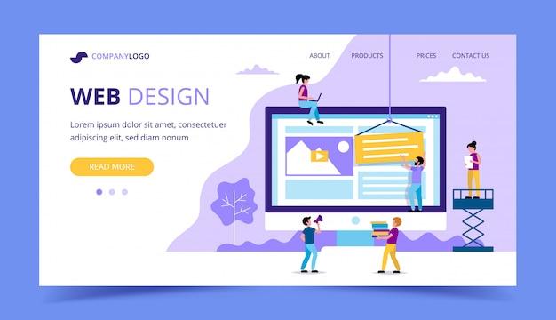 Pagina di atterraggio di web design - illustrazione con le piccole persone che fanno le varie mansioni, grande monitor con un sito web.
