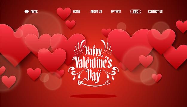 Pagina di atterraggio felice del segno di giorno di biglietti di s. valentino, illustrazione. saluto banner web decorazione cuore e simbolo di amore. modello luminoso