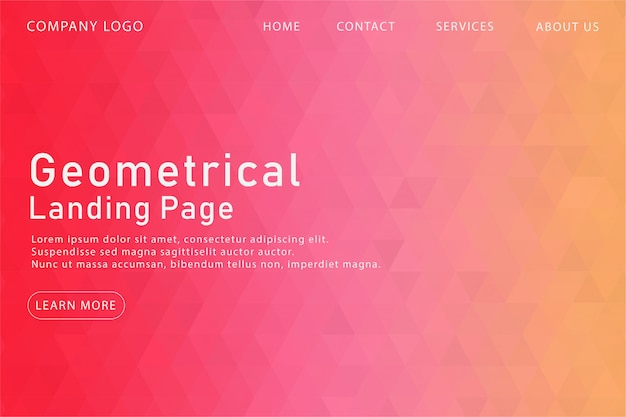 Pagina di atterraggio geometrica rosa moderna