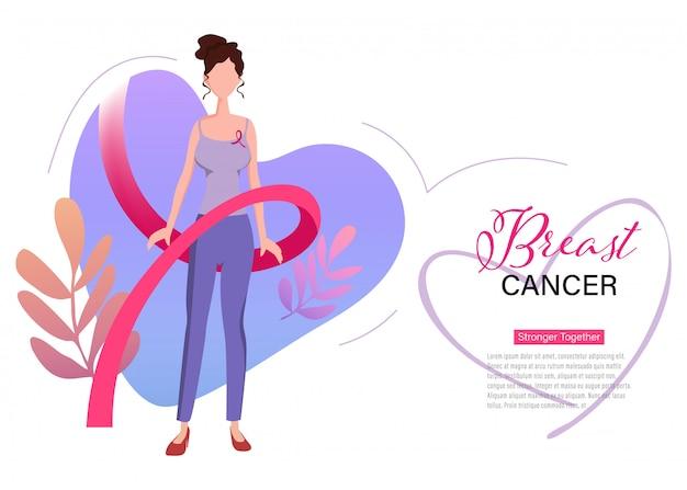 Pagina di atterraggio internazionale del nastro del giorno di cancro al seno.