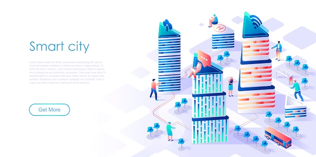 Pagina di atterraggio isometrica città intelligente o concetto piatto intelligente