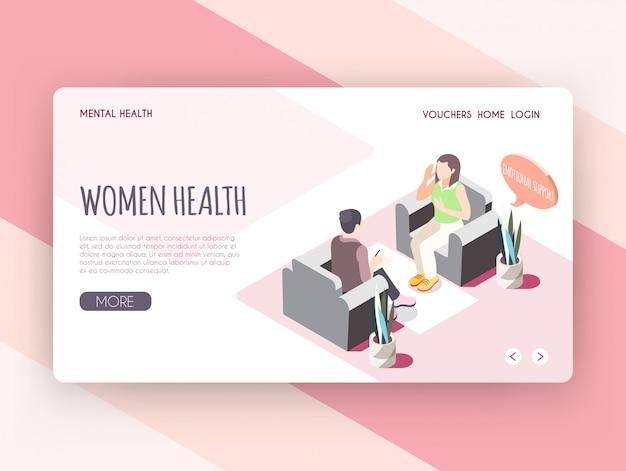 Pagina di atterraggio isometrica di salute delle donne con la giovane donna che riceve supporto emozionale all'illustrazione di vettore del gabinetto dello psicologo