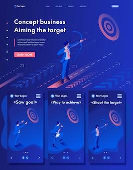 Pagina di atterraggio isometrica di web dell'uomo d'affari che punta sull'obiettivo, concetto di affari