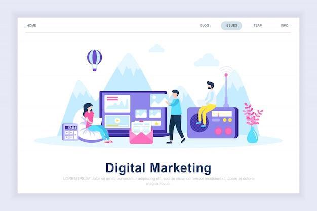 Pagina di atterraggio piatta moderna di marketing digitale