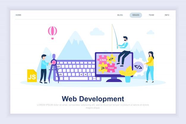 Pagina di atterraggio piatta moderna di sviluppo web