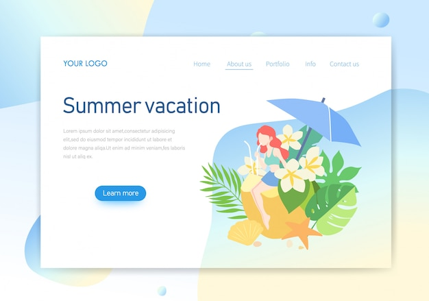 Pagina di atterraggio, progettazione dell'illustrazione della pagina web di vacanze estive