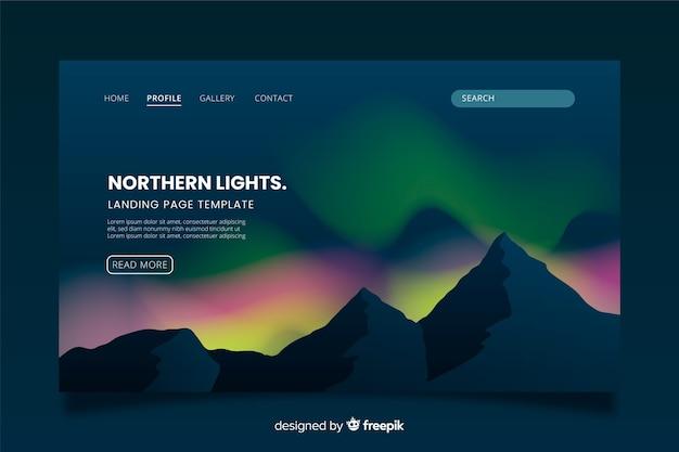 Pagina di atterraggio variopinta dell'aurora boreale