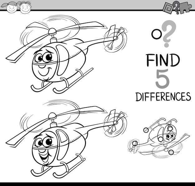 Pagina di colorazione gioco differenze