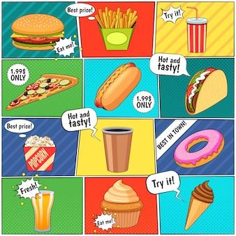 Pagina di composizione di pannelli comici di fast food con palloncini di discorso e sfondi colorati