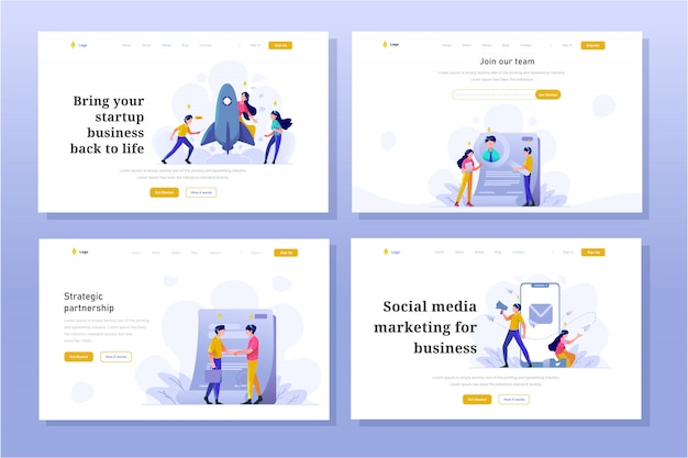 Pagina di destinazione affari e finanza illustrazione design piatto gradiente stile, avvio, ricerca di lavoratori, contratto, megafono, social media marketing su internet