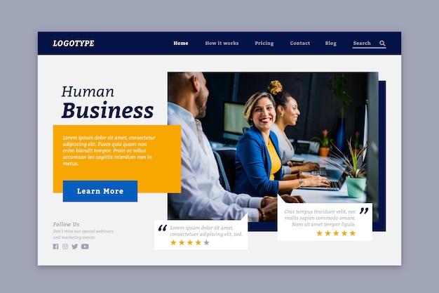 Pagina di destinazione affari umani con foto